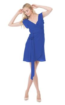 Stylish Cap-Sleeved V-Neck Chiffon Short Dress