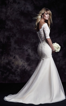 Long Bateau Lace Dress With Illusion Back