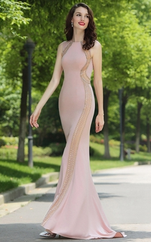 Sheath Floor-Length Sweep Bateau Sleeveless Jersey Beading Dress
