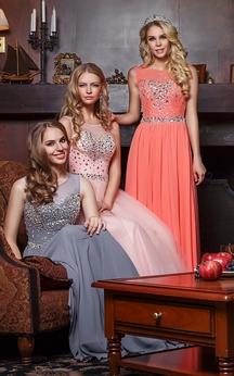 A-line Floor-length Jewel Sleeveless Chiffon Zipper Dress