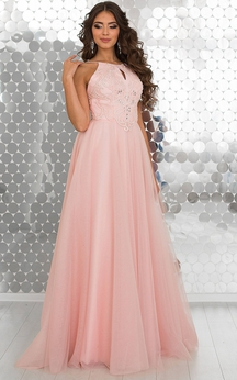 A-Line Floor-Length Halter Sleeveless Tulle Beading Appliques Straps Dress