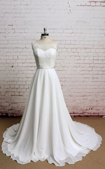 Lace Bodice A-Line Sleeveless Chiffon Dress With Illusion Back