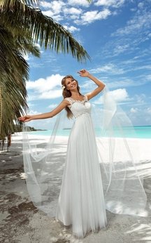 A-Line Floor-Length Scoop-Neck Cap-Sleeve Empire Corset-Back Tulle Dress With Appliques And Beading