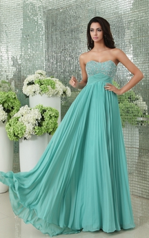 Empire Sweetheart Pleated A-Line Chiffon Gown Has Sequined Bodice