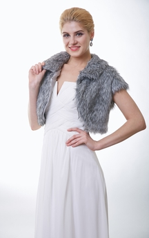 Short Sleeve Faux Fur Bridal Wrap Jacket