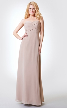 Sleeveless A-line Long Chiffon Dress With Bandage and Draping