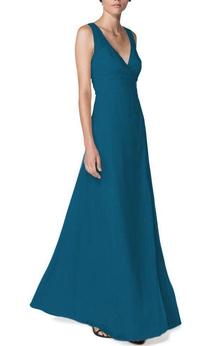 V-neck A-line Floor-length Bridesmaid Dress
