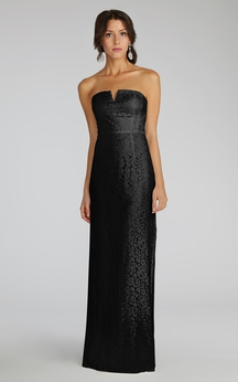 Modern Strapless Floor-length Lace Dress with Notched Neckline