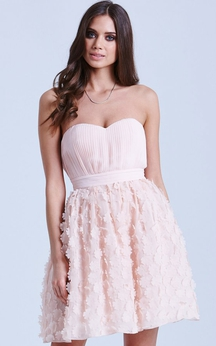 Sweetheart Cute A-Line Dress With Petals
