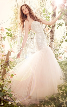 Shiny Strapless Fit and Flare Tulle Dress With Sequin Bodice