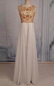 Floor-length Beading Keyhole Chiffon Dress