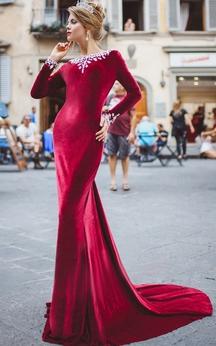 Sheath Court Train High-Neck Long Sleeve Velet Beading Pleats Backless Dress
