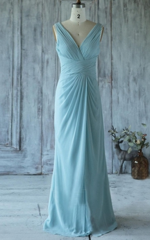 V Neck V Back Sheath Chiffon Long Dress With Ruching