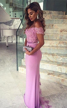 Elegant Lace Appliques Mermaid 2016 Prom Dress Off-the-shoulder Sweep Train