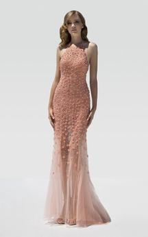 Sheath Floor-Length High Neck Sleeveless Tulle Beading Flower Backless Dress