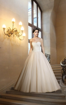 Gorgeous Floor Length Wedding Ball Gown with Lace Bodice