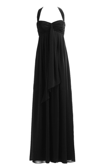 Halter Empire Layered Chiffon Gown With Ruching