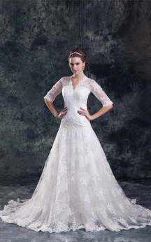 Adorable Satin Appliqued a Line V Neck Half Short Sleeve Wedding Dresses