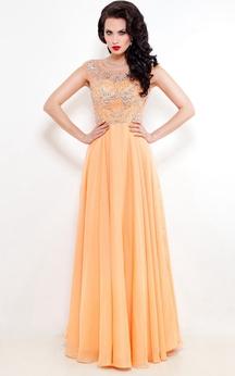 A-Line Floor-Length Jewel Short Sleeve Chiffon Pleats Beading Low-V Back Dress