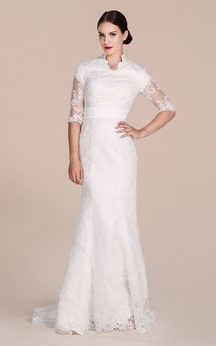Half-sleeved Lace Gown With Illusion Sleeves