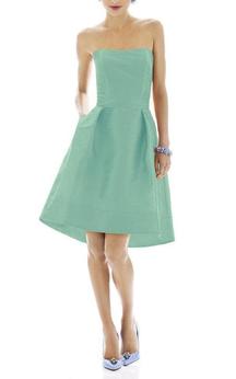 Strapless A-line High-low Satin Dress