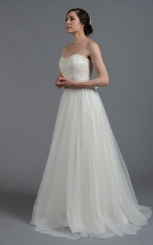 Tulle A-Line Sweetheart Gown With Lace Bodice and Beaded Waist