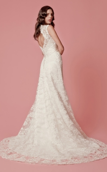 V-neck Lace Bridal Gown with Keyhole Backstyle