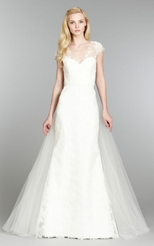 Demure V-Neck Cap Sleeve Lace Dress With Detachable Tulle Train