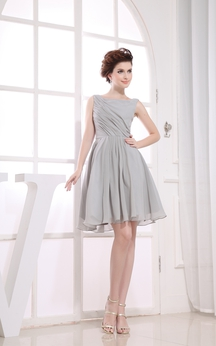 Ethereal Bateau-Neck Sleeveless Chiffon Short Dress With Pleats