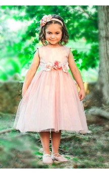 Bateau Sleeveless Pleated A-line Tulle Tea Length Dress With Flower Sash
