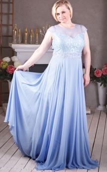 A-Line Sweep Jewel Short Sleeve Tulle Beading Appliques Keyhole Dress
