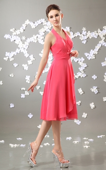 Knee-Length Chiffon V-Neck Dress With Pleating