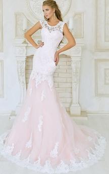 Mermaid Court Train Jewel Short Sleeve Lace Pleats Low-V Back Dress
