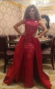 Sexy Red Designer Prom Dress on Sale Removable Long Evening Gowns Online