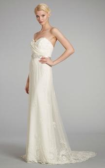 Stylish Pleated Bodice Lace Sheath Dress With Beaded Embroidery