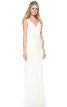 Long Low-V Neckline Sheath Chiffon Dress With 3D Flowers