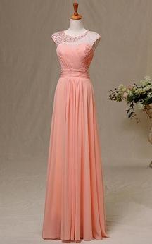 A-line Maxi Sweetheart Beading Keyhole Chiffon Dress