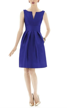 Notch Neck Satin Short Dress with Pleats