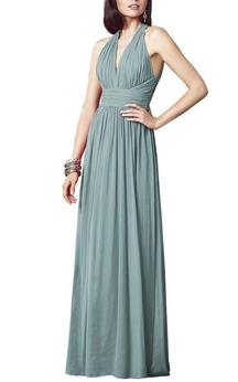 Halter Ruched Chiffon Bridesmaid Dress