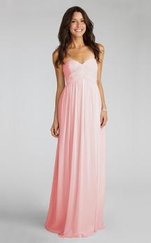Modern Long-Chiffon Sweetheart Dress With Ruching