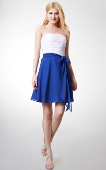 Sleeveless Ruched Bodice A-line Chiffon Dress With Sash