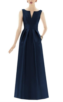 Notch Neck Satin Long Dress with Pleats
