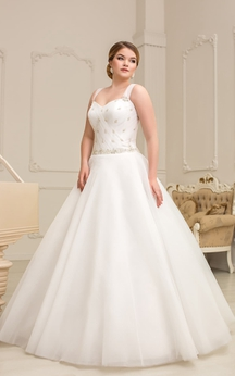 A-Line Maxi Sweetheart Sleeveless Lace-Up Organza Dress With Ruching And Beading