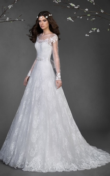 A-Line Long Scoop Long-Sleeve Corset-Back Lace Dress With Appliques And Waist Jewellery