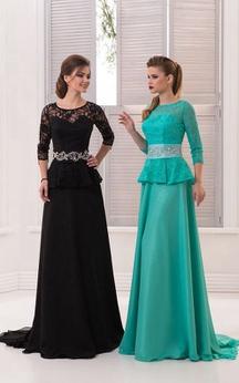 A-Line Sweep Jewel 3 Chiffon Crystal Detailing Ruffles Zipper Dress
