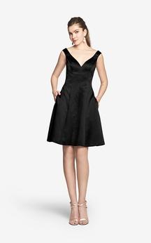 Charming Mini V Back Sleeveless A-Line Satin Dress With V-neck and Side Pockets