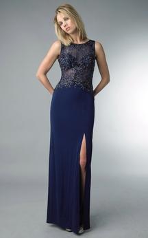 Sheath Floor-length High Neck Sleeveless Jersey Zipper Dress