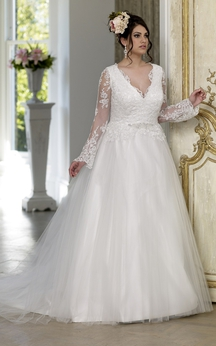 Ball Gown Floor-Length V-Neck Long Sleeve Puff Satin Tulle Court Train Lace-Up Back Appliques Dress