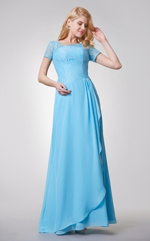 Special Neckline Long Chiffon Dress With Lace Top