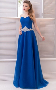 A-Line Floor-Length Sweep Sweetheart Sleeveless Tulle Crystal Detailing Pleats Zipper Dress